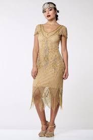 annette vintage inspired fringe flapper dress in antique gold