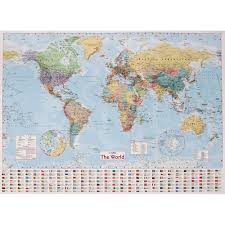 World Atlas Maps by Collins World Wall Map 40inch X 54inch Cheap Atlases U0026 Maps