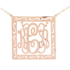 Monagram Necklace Chandelier Filigree Square Monogram Pendant Necklace Hanalaura