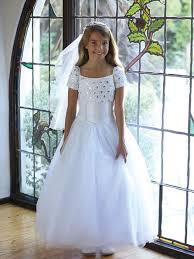 white twinkling ruffle trimed bodice girls communion flower long dress