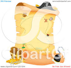 Treasure Map Clipart Clipart Of A Pirate Treasure Map Scroll Royalty Free Vector