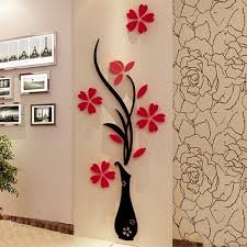 home smirror 3d clock creative wall stickers cndirect com new 1 pack 3d diy floral wall decor stickers wall art home living room vinyl decor