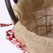 adeco oval rustic vintage inspired iron baskets handles burlap