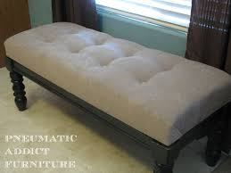 furniture comfortable white tufted bench with dark wood frame and