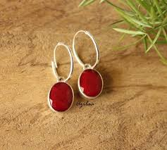 hoops earrings india ruby sterling silver gemstone hoop earrings online in india azilaa