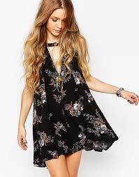 image 1 of free people sleeveless swing dress in black print