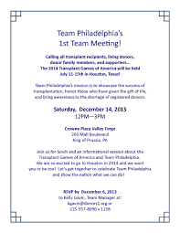 join team philadelphia at the transplant games of america gift