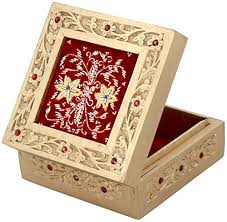 Yellow Decorative Box Souvnear Art Jewelry Box In Wood And Red Velvet Exclusive