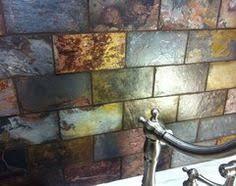 Kitchen Backsplash Glass Tile by 10sf Rustic Copper Linear Natural Slate Blend Mosaic Tile Kitchen