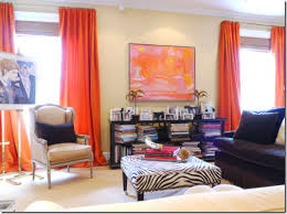 Pink And Orange Curtains Bright Orange Curtains With Pink Orange Artwork In A Room