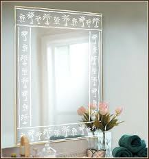 Etched Bathroom Mirror Etched Bathroom Mirror Palm Tree Etched Glass Border Accent Etched