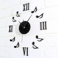 musical note wall clock diy roman home decor watch time modern