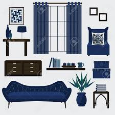 living room furniture and accessories in color navy blue royalty