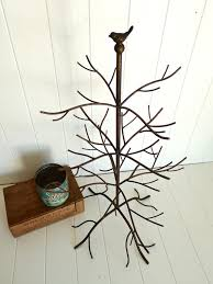 mora large rustic 3 layer jewelry ornament tree with bird