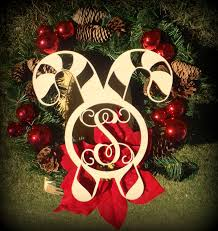candy cane cutout monogrammed door hanger christmas decoration
