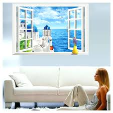 wall arts beach window wall murals beach window wall art beach wall arts sakura wall decor removable art decal 3d ocean beach window wall stickers creative