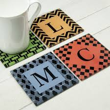 set of four glass coasters art deco design personalised gifts uk
