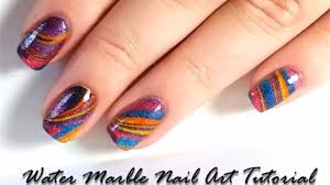 water marble nail art with wet paint jellies technique nails