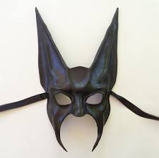 leather mask black jackal or bat leather mask half anubis by teonova on