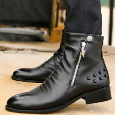 black leather motorcycle boots cool stylish fashion men motorcycle ankle boots mens quality