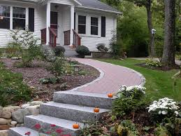 Front Steps Design Ideas Front Walkway With Steps Ideas Curving Granite Steps And Walkway