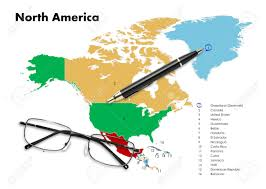 Denmark On World Map by Denmark On North America Map With Pen U0026 Eyeglasses Stock Photo