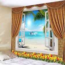 light blue w79 inch l59 inch window seascape flowers waterproof