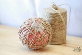 rustic ornaments tutorial easy glittered twine