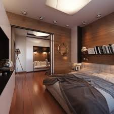 masculine rustic bedroom round grey fur rug wooden polish computer