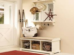 mudroom entryway storage bench with wicker baskets for cool home