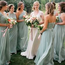 moss green bridesmaid dresses green bridesmaid dresses a line chiffon one