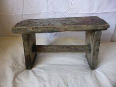 Farm Benches - vintage 1920 rustic wooden farm foot stool small bench in old