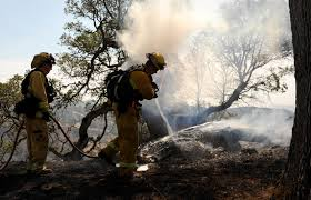 California Wildfires Rocky Fire by Beale Responds To Wildfire With Local Community Firefighters