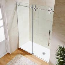 Sliding Shower Doors For Small Spaces Vigo 60 Inch Clear Glass Frameless Sliding Shower Door Bathroom