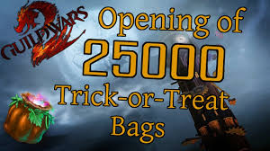 halloween bags for trick or treating guild wars 2 unboxing opening of 25000 trick or treat bags 2016