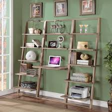 Oak Ladder Bookcase by Leaning Bookcase With 5 Shelves By Riverside Furniture Wolf And