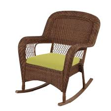 Rocking Chair With Cushions Martha Stewart Living Charlottetown Brown All Weather Wicker