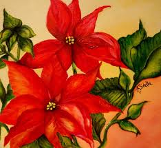christmas flowers christmas flowers painting by annamarie sidella felts