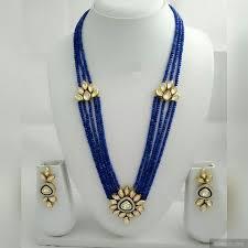 long blue necklace images Beads long necklace set with vilandi kundan pendant jpg