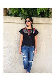 the shoulder black blouse 40 00 xochitl blouse black with multi color embroidery