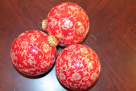 Extra Large Red Christmas Ornaments by Three Vintage Set Of Three Extra Large Red Christmas