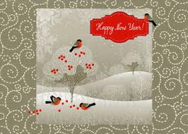 bird on white tree new year card by lpg greetings