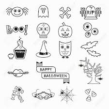 halloween white background cute halloween black line icons set on white background royalty