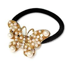 hair bobble butterfly pearl hair bobble wear with