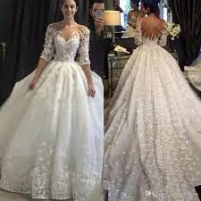 luxury ball gown wedding dress with 3d flowers lace bridal gowns