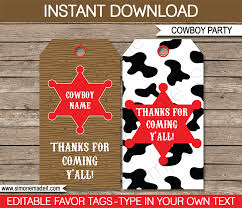 cowboy party favor tags thank you tags birthday party