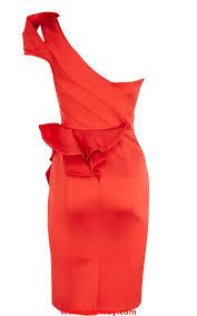 sumptuous karen millen signature stretch satin peplum dress coral