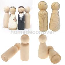 10pcs bride groom plain blank wooden peg dolls figures wedding