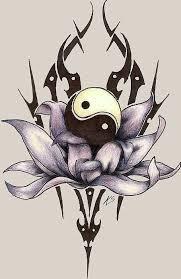 tribal style violet lotus and yin yang symbol tattoos photos