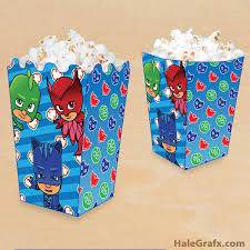free printable pj masks popcorn box party pj mask